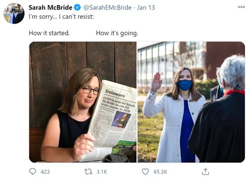 Sarah McBride, neosenatrice transgender
